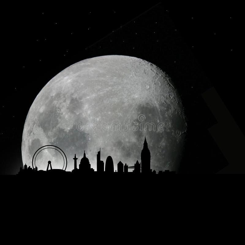 London-Skyline bis zum Nacht mit Mond lizenzfreie abbildung