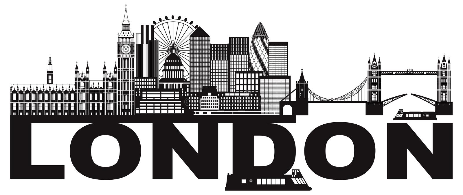 London Skyline Black and White Text vector Illustration stock illustration