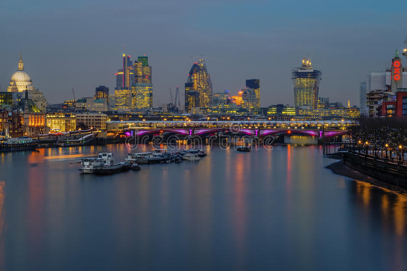London Skyline - Blackfriars bridge, St Paul Cathedral, Oxo Tower royalty free stock photos