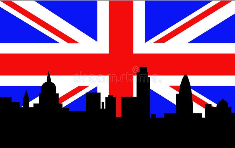 London Skyline British Flag stock illustration
