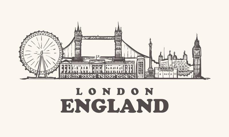 London-Skyline, England-Weinlesevektorillustration, Hand gezeichnet lizenzfreie abbildung
