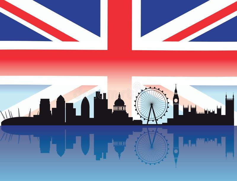 London skyline with flag stock illustration