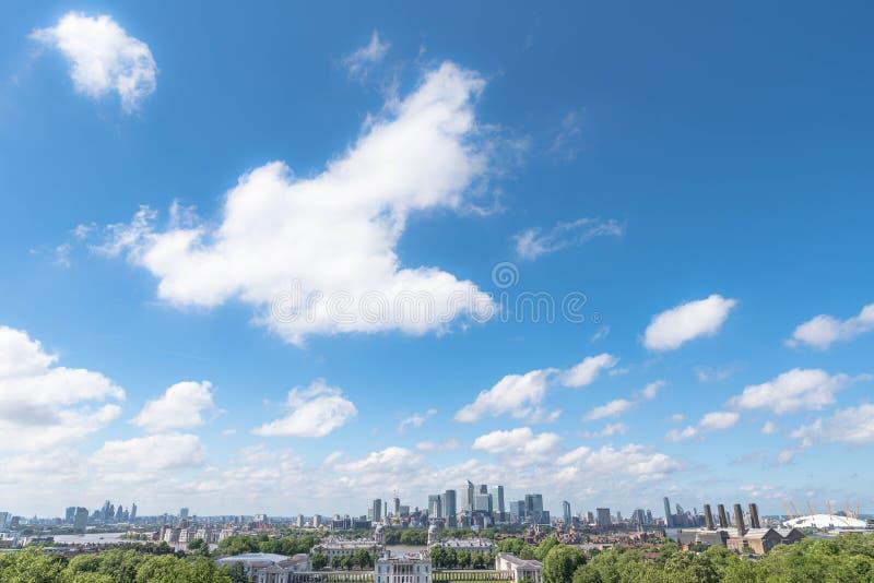 London skyline from Greenwich stock photos