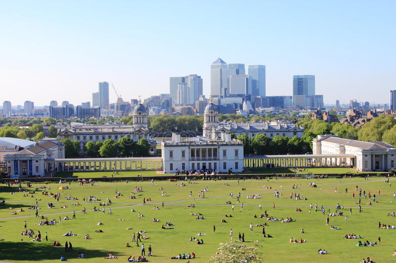 London skyline from Greenwich hill stock photos