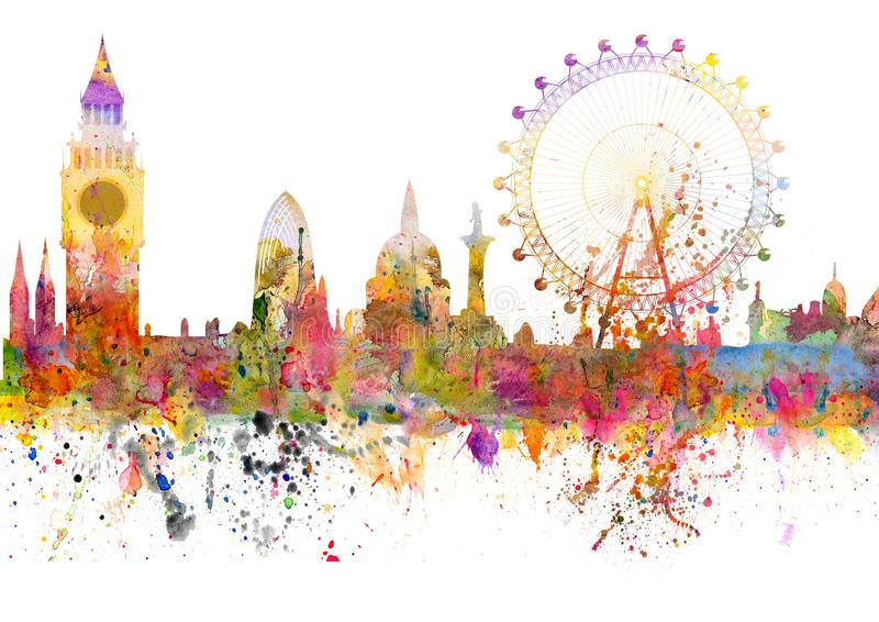 London skyline in grunge style with watercolor blots royalty free illustration
