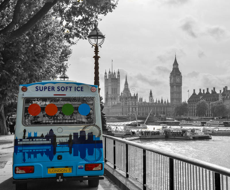 London Skyline with ice-cream truck. This picture was taken overlooking the river Thames and the houses of parliament and Westminster - Oct 2014 royalty free stock photos