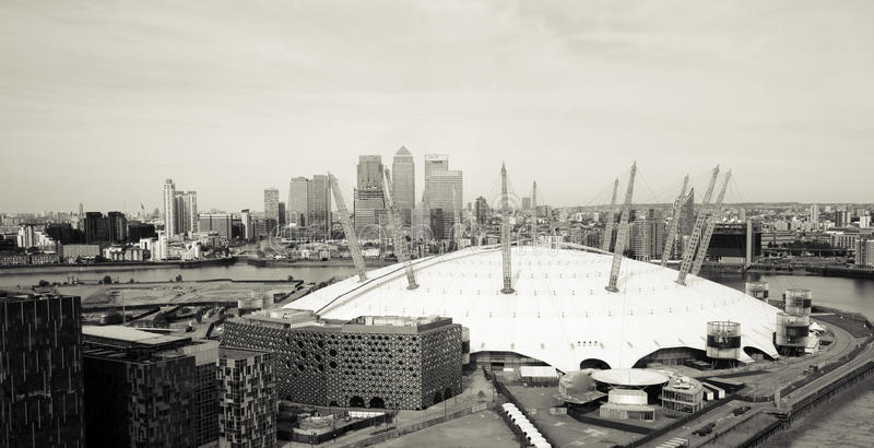 London skyline, include O2 Arena, skyscrapers in the background royalty free stock photos