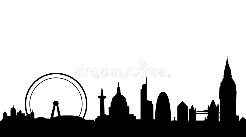 London skyline and landmarks. Vector illustration as silhouette of city of london with all the most famous monuments and buildings, as tower bridge, big ben