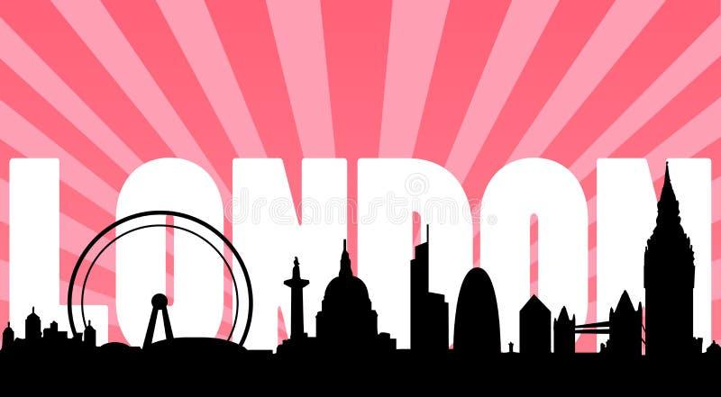 London skyline landmarks and text