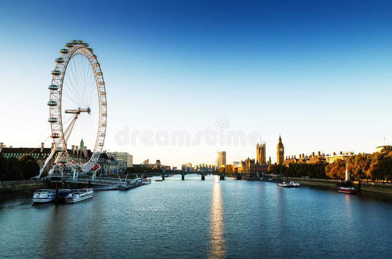 London Skyline landscape at Sunrise with Big Ben, Palace of Westminster, London Eye, Westminster Bridge, River Thames, London, Eng stock image