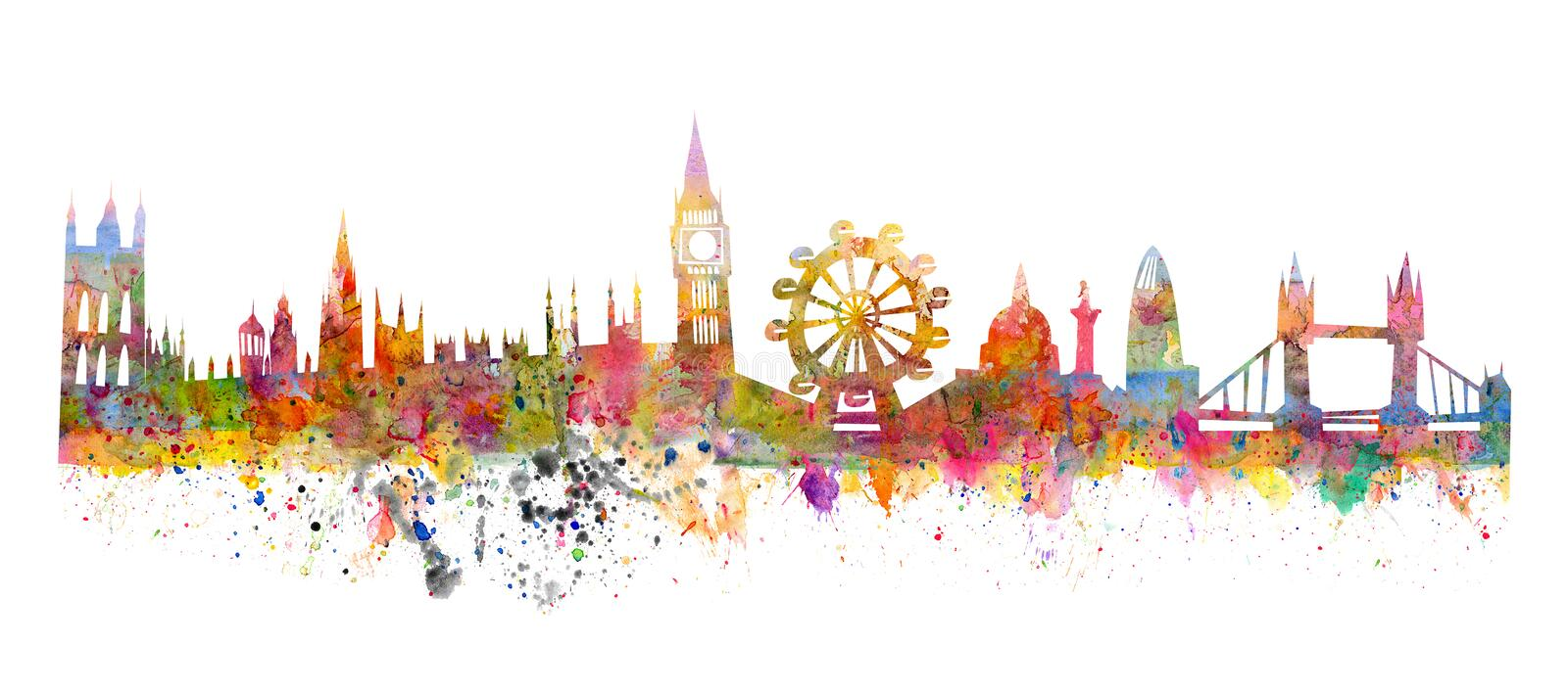 London skyline like a watercolor painting. In grunge style vector illustration