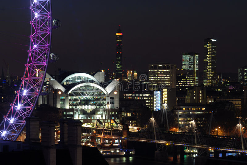 Download London skyline at night stock image. Image of street, reflection - 5237211
