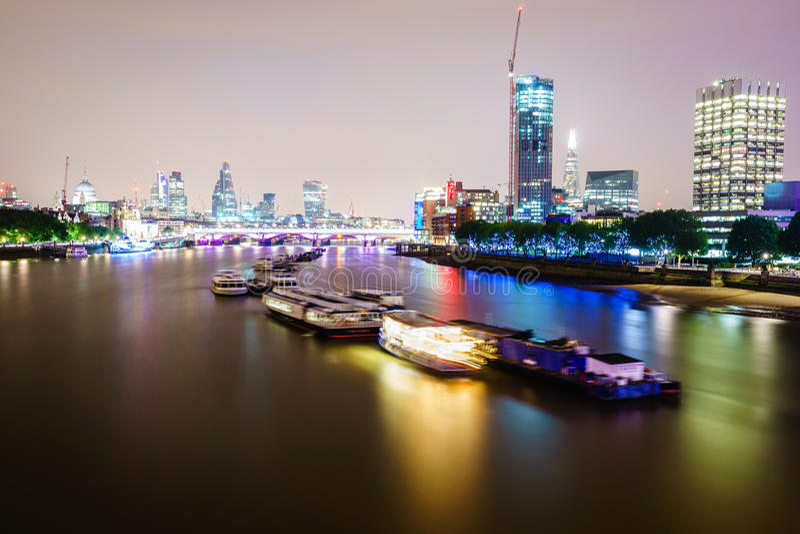 London skyline by night stock image