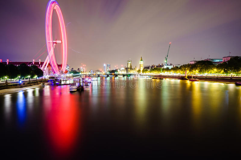 London skyline by night stock images
