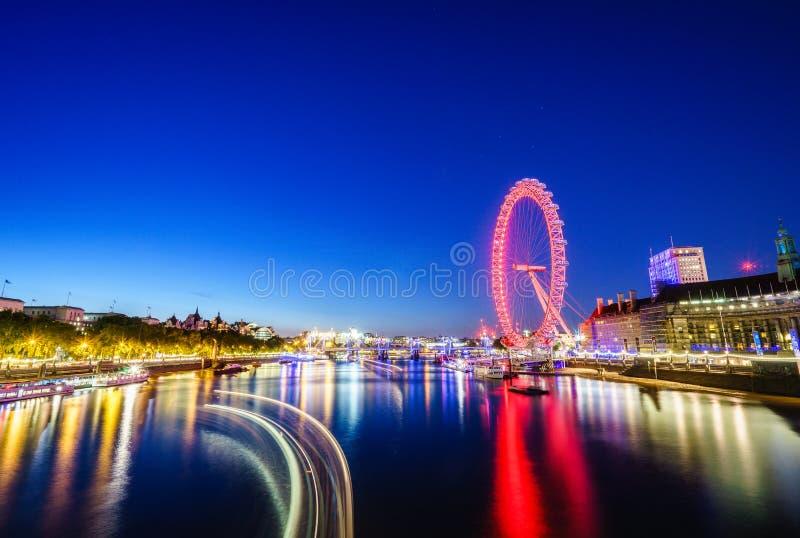 London skyline by night stock photos