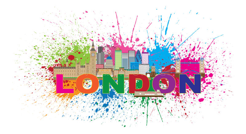 London Skyline Paint Splatter Color Text Vector Illustration royalty free illustration
