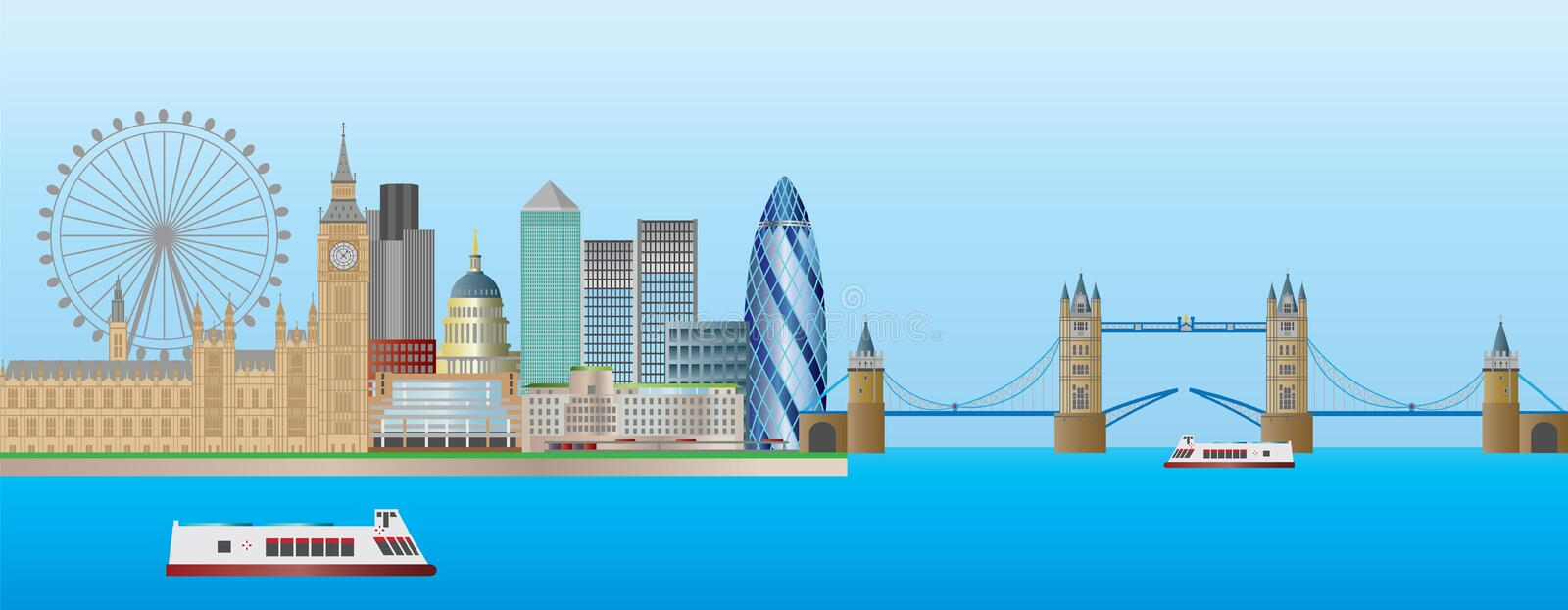 London Skyline Panorama Illustration royalty free illustration