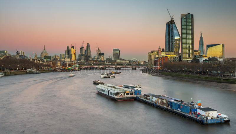 London skyline panorama at night, England the UK. River Thames, royalty free stock photography