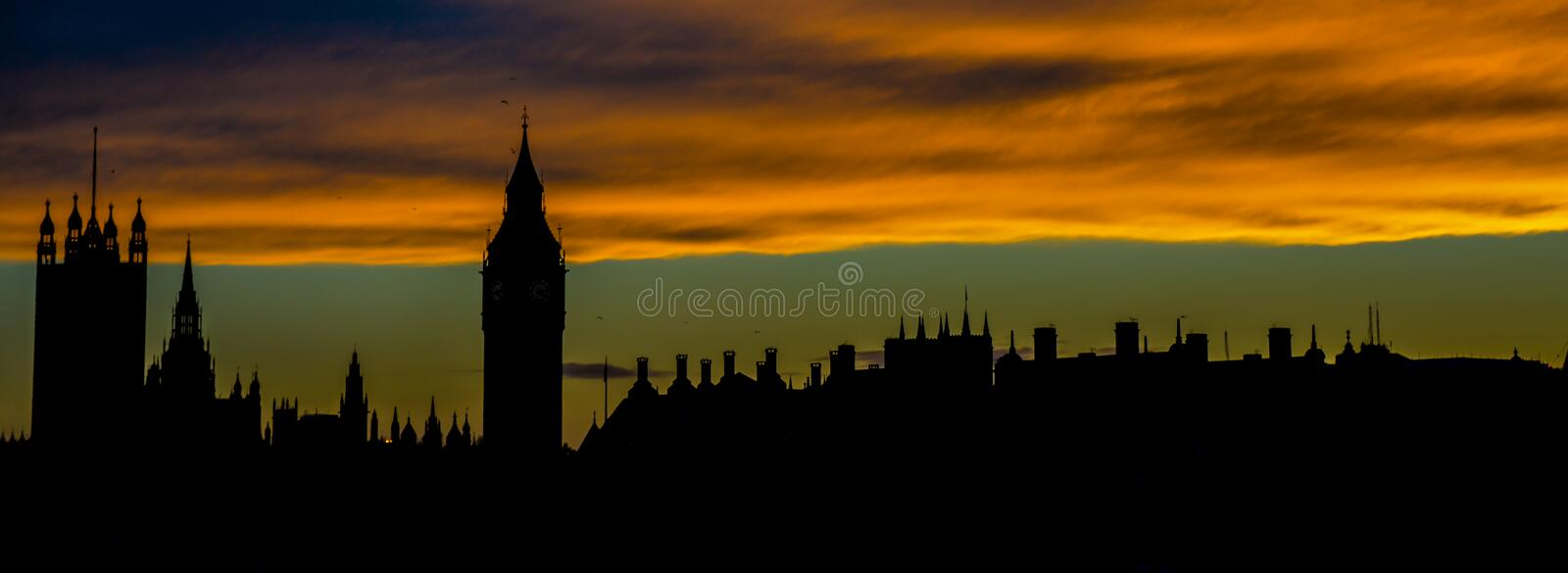 London Skyline. A picture taken from the Millennium Bridge at sunset looking across the Thames at the London skyline stock photos