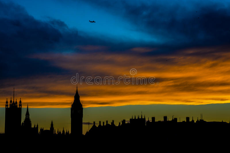 London Skyline. A picture taken from the Millennium Bridge at sunset looking across the Thames at the London skyline