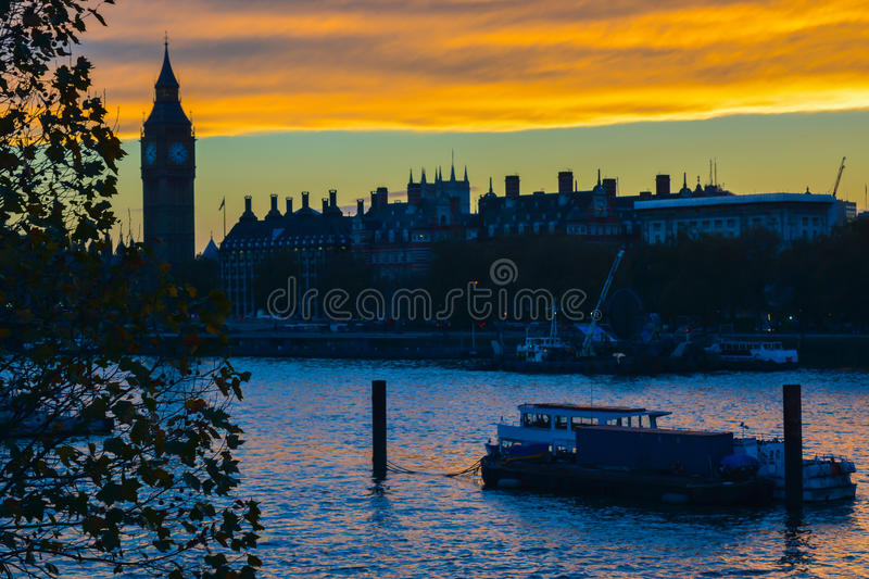 London skyline at. A picture taken from the Millennium Bridge at sunset looking across the Thames at the London River Thames royalty free stock photos