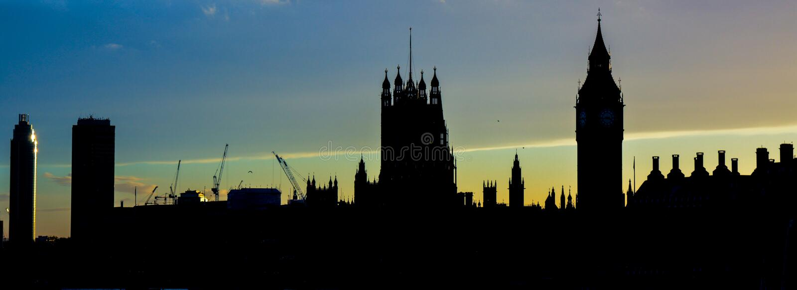 London skyline. A picture of the Westminster (London) skyline, including the houses of parliament stock image