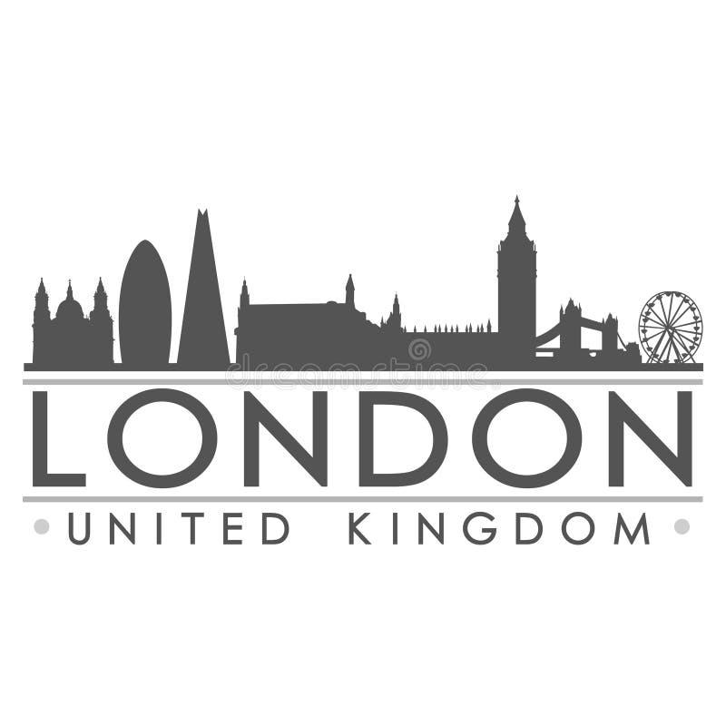 London-Skyline-Schattenbild-Design-Stadt-Vektor-Kunst lizenzfreie abbildung