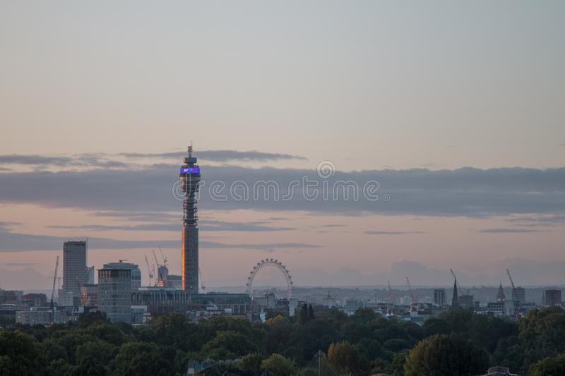 London Skyline seen from Primrose Hill. stock images