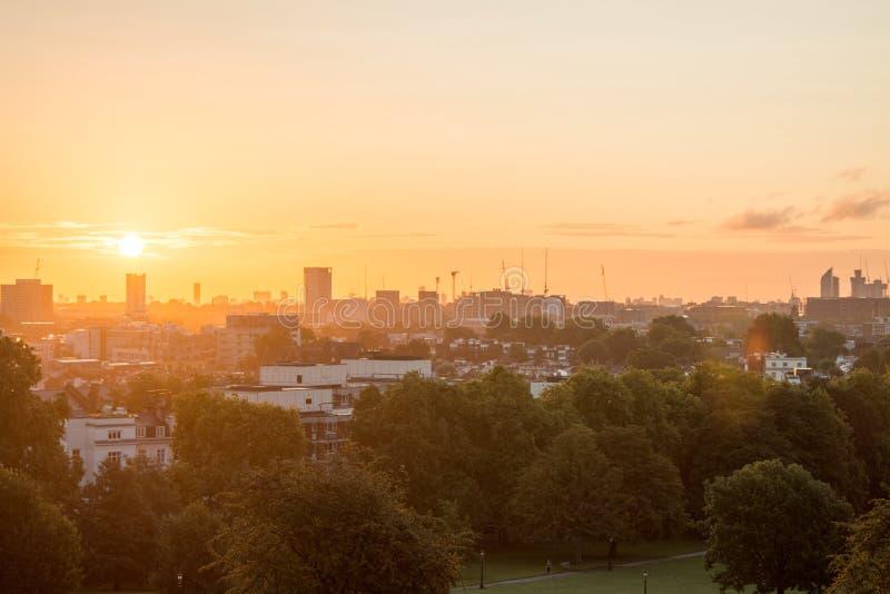 London Skyline seen from Primrose Hill. stock photo