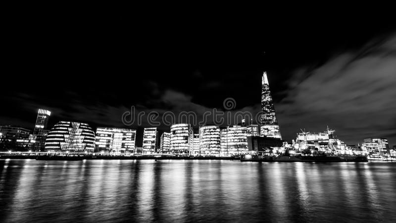 Download London Skyline With The Shard At Night Black And White Stock Image