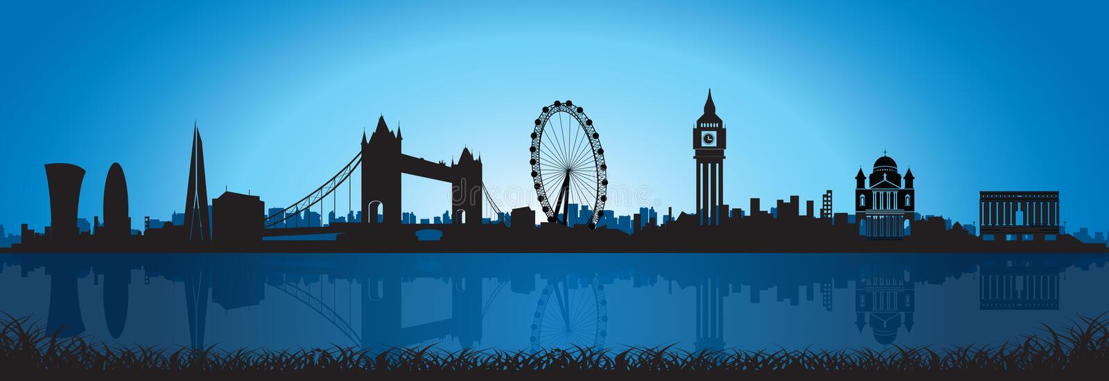 Download London Skyline Silhouette At Night Stock Vector