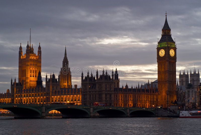 London skyline at sunset royalty free stock photography