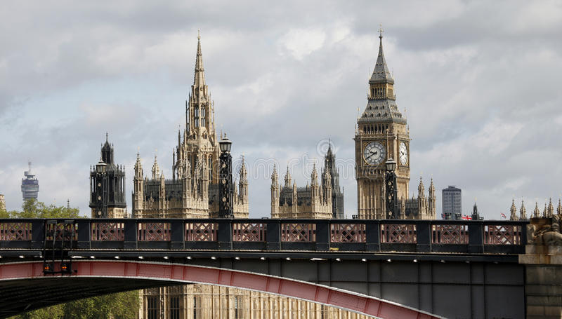 London skyline, Westminster Palace. Big Ben and Central Tower, seen from South Bank royalty free stock photo