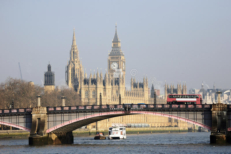 London skyline, Westminster Palace. Big Ben and Central Tower, seen from South Bank royalty free stock photography