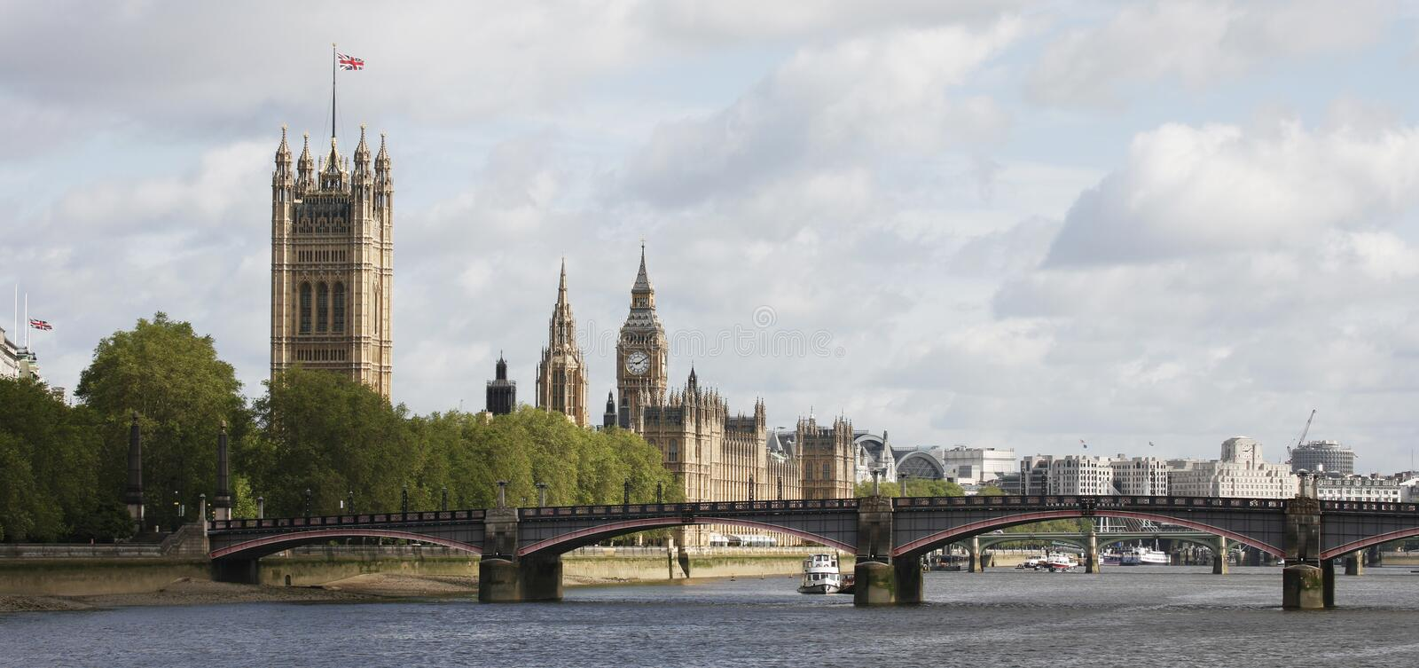 London skyline, Westminster Palace, Big Ben. And Victoria Tower, seen from South Bank stock images