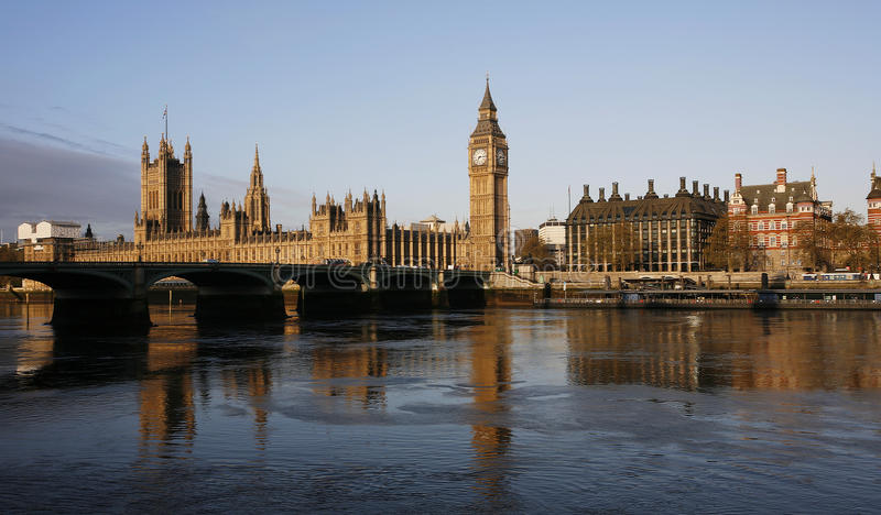 London skyline, Westminster Palace. Big Ben, Victoria Tower and Central Tower, seen from South Bank stock photos