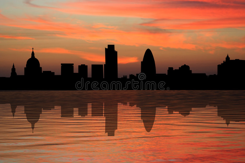 London skyscrapers at sunset