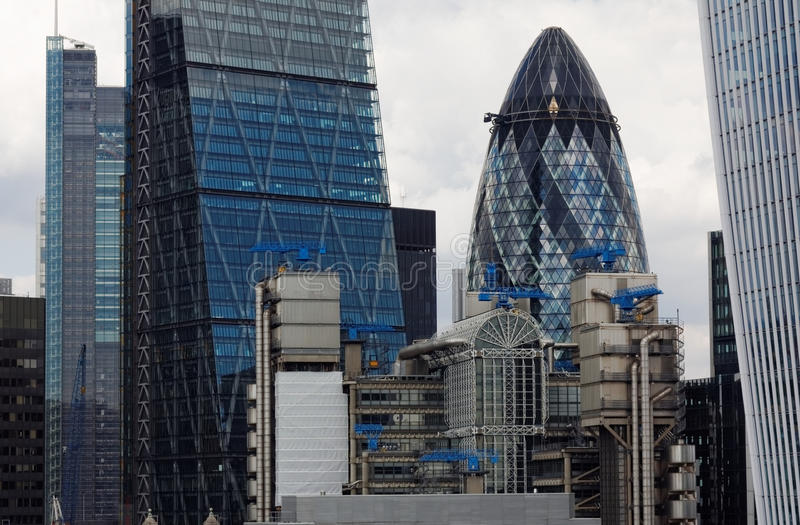 London Skyscrapers Viewed From Top of Monument Tower. CITY OF LONDON, ENGLAND, 8 AUGUST 2015. Editorial Photograph taken from Top of Monument Tower, erected in stock image