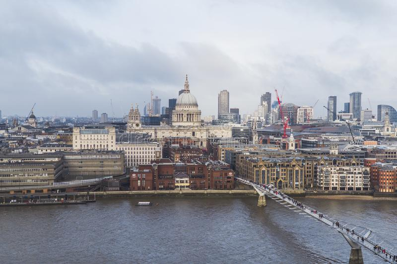 London - St Paul Cathedral in united Kingdom, UK. Aerial view. royalty free stock images