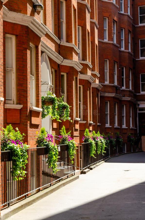 London stad/England: Byggnader för röd tegelsten i den Westminster gatan arkivbild