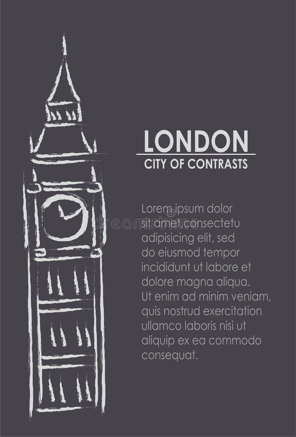 London staden av contrasts royaltyfri illustrationer