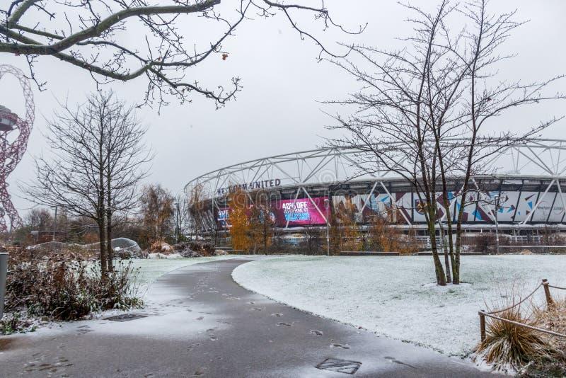 London Stadium in snow, Queen Elizabeth Olympic Park stock image