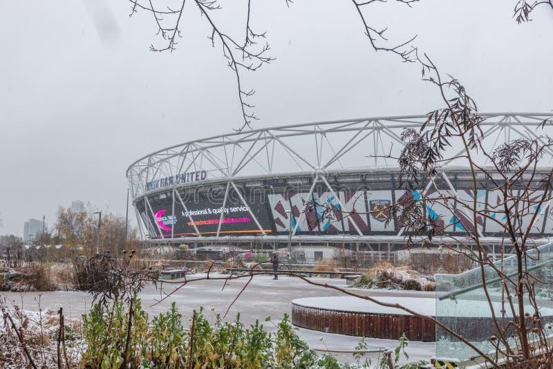London Stadium in snow, Queen Elizabeth Olympic Park royalty free stock image