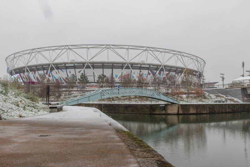 London Stadium in snow, Queen Elizabeth Olympic Park stock photo