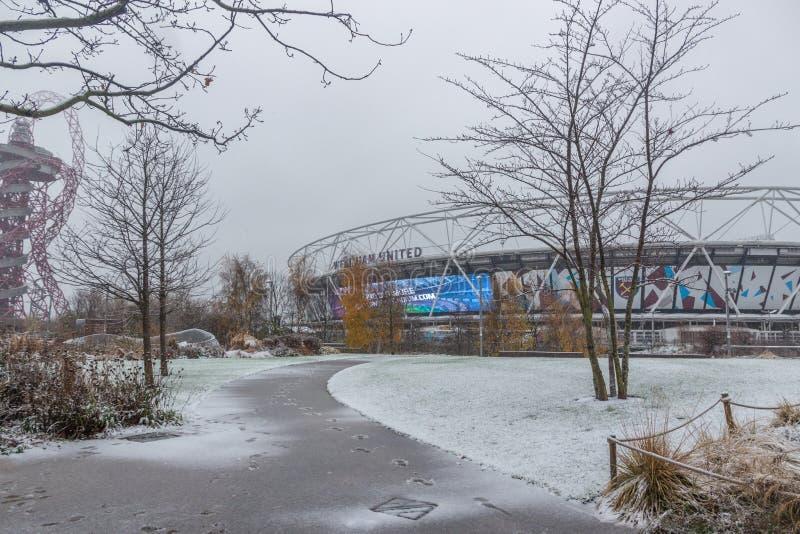 London Stadium in snow, Queen Elizabeth Olympic Park royalty free stock photo