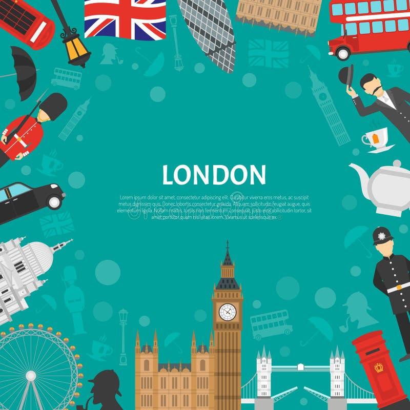 London-Stadt-Rahmen-Hintergrund-flaches Plakat Vektor Abbildung ...