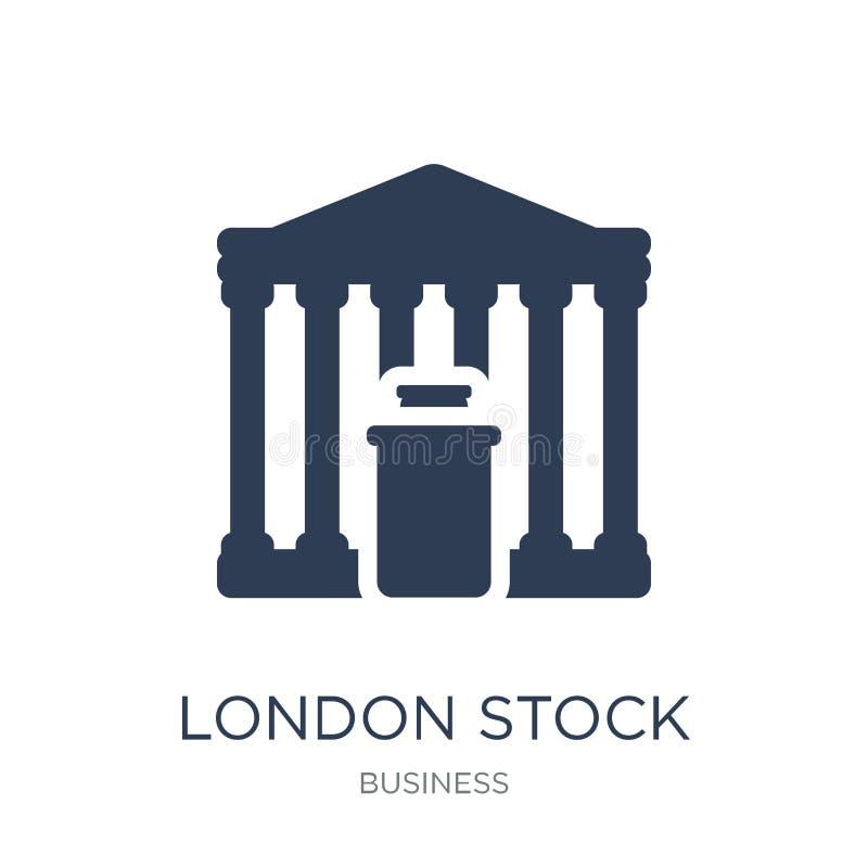 London Stock Exchangesymbol Den moderiktiga plana vektorn London lagerför utbyte vektor illustrationer
