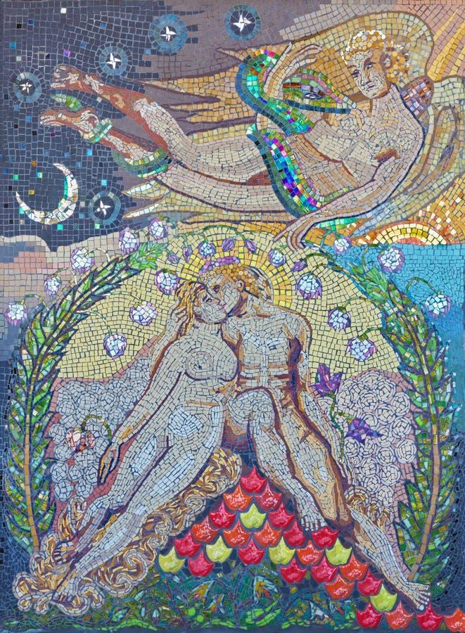 LONDON STORBRITANNIEN - SEPTEMBER 14, 2017: Den moderna mosaiken av Adam och Eva Paradise Lost i kyrkaSt Lawrence Jewry royaltyfri fotografi