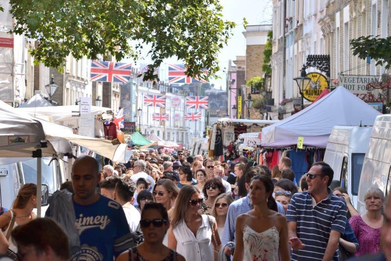 London-Straßenmarkt Portobello-Straße stockfotos