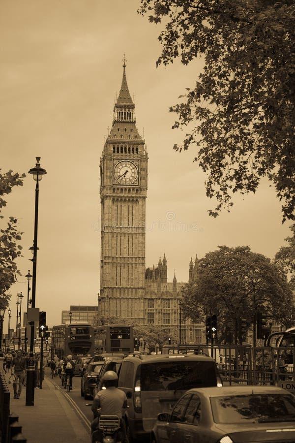 London street, Big Ben Retro style stock photos